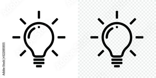 Obraz Lamp light bulb icon on isolated and white background. Vector lightbulb lamp symbol for idea think - fototapety do salonu