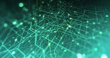 Abstract Digital City. Digital Circuit Board, Motherboard, Digital Chip. Digitalization Of Information: IT, IOT, Server, Data Center. Animated Visualization Of Network Data. 3D Render