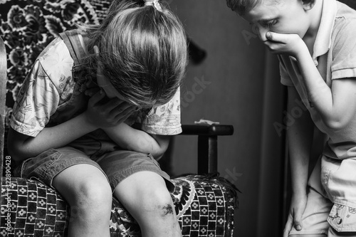 little girl hurt her knee. black and white. Canvas Print