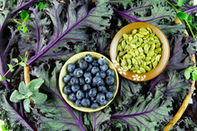 Blueberries And Pumpkin Seeds On A Bed Of Healthy Purple Leaf Greens