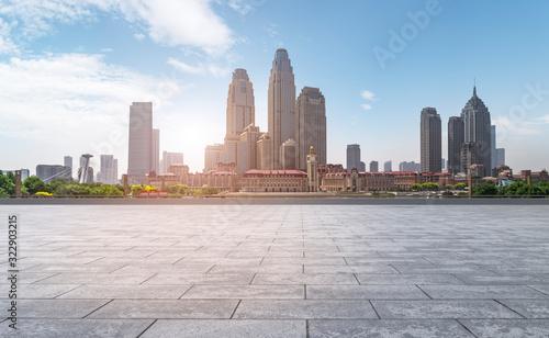 Road Plaza and Tianjin urban landscape skyline..