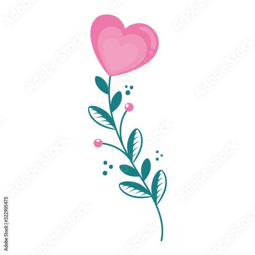 Fototapeta cute flower in shape heart with branch and leafs vector illustration design obraz na płótnie