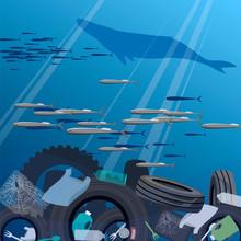 Ocean Pollution. Vector Image ...