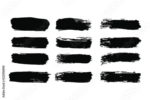 Fototapety, obrazy: EPS 10 vector. Set of black brushstrokes. Good collection of brushes.