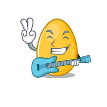 A Picture Of Golden Egg Playing A Guitar