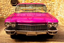 Vintage Classic Retro Car. Beautiful Pink Auto, Front View