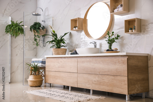 Fototapety, obrazy: Green plants in elegant modern bathroom. Interior design