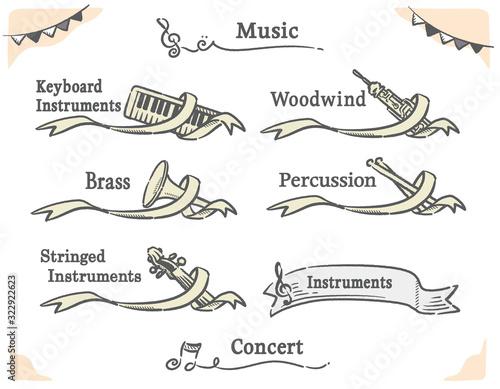 Canvastavla オーケストラ楽器の種類別、クラシカルなラベルデザインのセット。