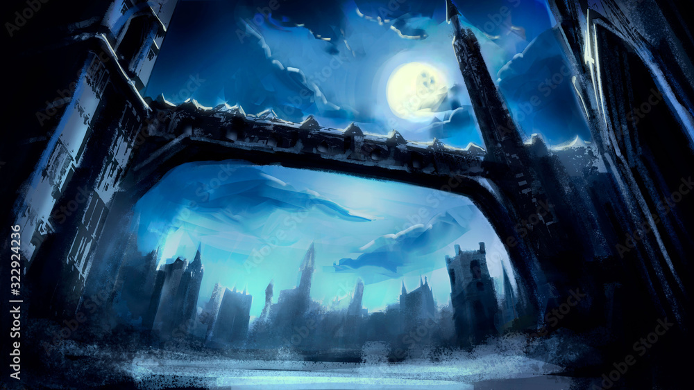 Fototapeta A beautiful fantasy winter city with Gothic towers and a long bridge, in a dynamic perspective, against the background of the night sky with a full moon and beautiful clouds. 2D illustration.