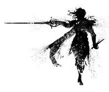 A Black Silhouette Of A Duelist In An Elegant Suit, With Long Hair, A Cloak, And A Rapier In One Hand And A Dagger In The Other, The Drawing Consists Of Blotches And Smears. 2D Illustration.
