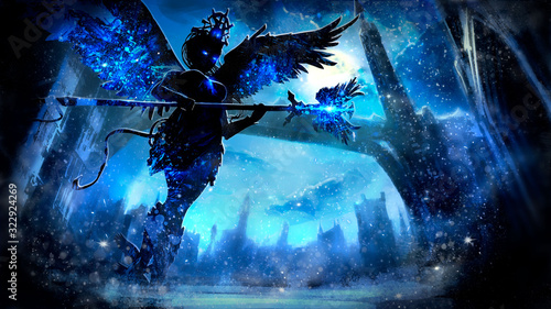 Obraz Ice angel sorceress with glowing eyes and a staff in her hands, on the background of the night winter landscape of a fantasy city with a long bridge and a tower, at midnight. 2D illustration. - fototapety do salonu