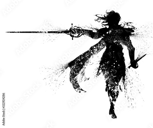 Foto A black silhouette of a duelist in an elegant suit, with long hair, a cloak, and a rapier in one hand and a dagger in the other, the drawing consists of blotches and smears