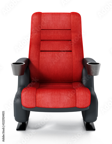 Obraz na plátně Red cinema chair isolated on white background. 3D illustration