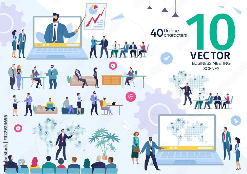 Fototapeta Business Company Employees Team Life Scenes and Work Situations, Office Meeting, Project Strategy Presentation, Investors Negotiation, Planning Expansion Concepts Trendy Flat Vector Illustrations Set
