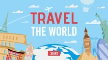Travel Over World By Air. Airc...
