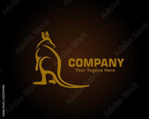Gold kangaroo on black background logo design inspiration Wallpaper Mural