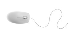 Modern Wired Computer Mouse Isolated On White