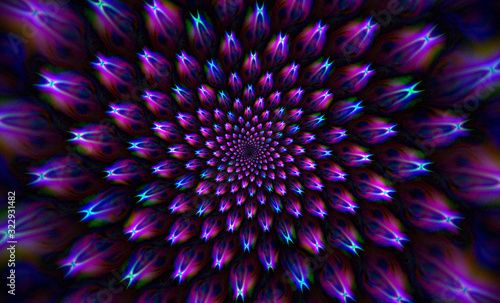 Fantasy infinite flower, abstract mandala background.