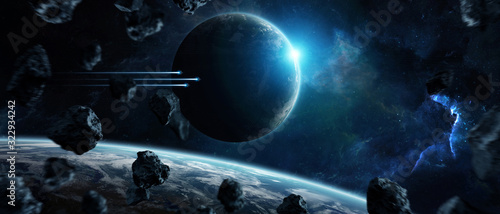 Obraz Distant planet system in space with exoplanets 3D rendering elements of this image furnished by NASA - fototapety do salonu