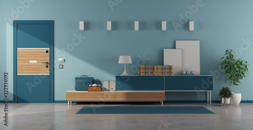 Blue home entrance with armored door and sideboard Fototapet
