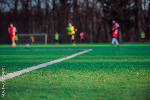 Fototapeta Soccer professional game, concept photo, blurred background obraz