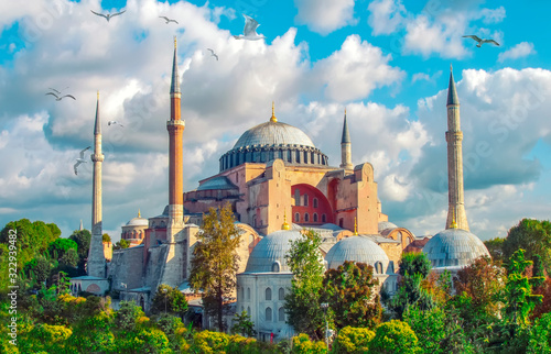 Sunny day architecture and Hagia Sophia Museum, in Eminonu, istanbul, Turkey Wallpaper Mural