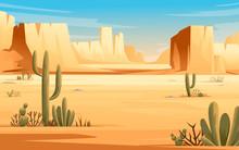 Desert Landscape Of Stone Desert With Plants And Rocks Sunny Day Blue Sky Flat Vector Illustration Horizontal Design