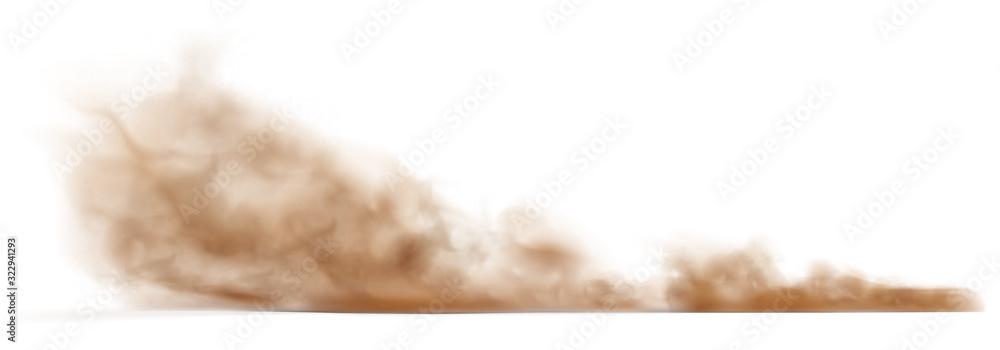 Fototapeta Dust sand cloud on a dusty road from a car.