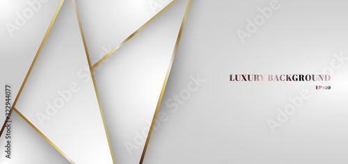 Obraz Abstract white gradient triangle low polygon pattern with golden line background. - fototapety do salonu