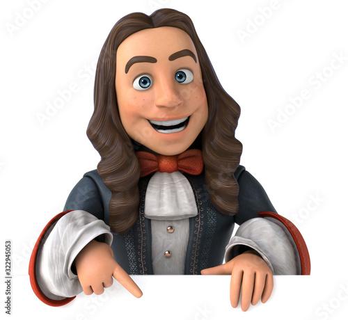 Photo Cartoon man in historical baroque costume
