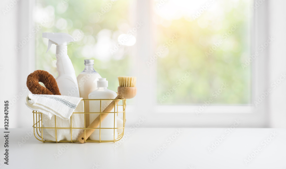 Fototapeta Eco-friendly natural cleaning products on table and window background