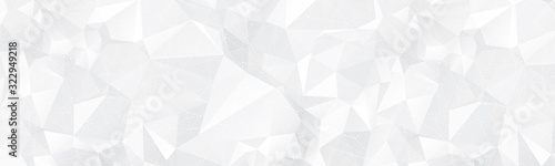 White Polygonal Banner Background with Dashed Line Triangles