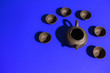 Leinwanddruck Bild - clay teapots bowls on a colored background. Chinese tea party tableware seamless Wallpaper background screensaver