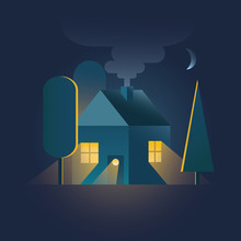 Home. House In Night Time With...
