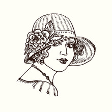 Vintage Gravure 1920s Style Fashionable Girl Portrait In Hat With Flowers, Hand Drawn Doodle, Drawing, Sketch Illustration, Design Element