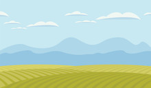 Vector Landscape With Green Fi...