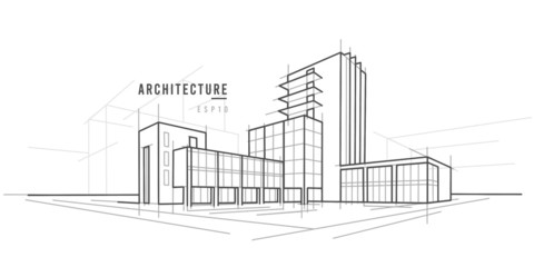 Architectural sketch vector drawing. Text outlined.