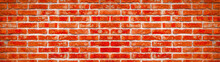 Fire Red Rustic Brick Wall Texture Banner Panorama, Colorful Trend Color 2020