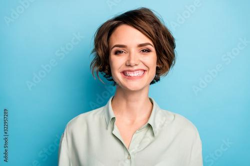 Carta da parati Closeup photo of attractive business lady short bob hairstyle smiling beaming go