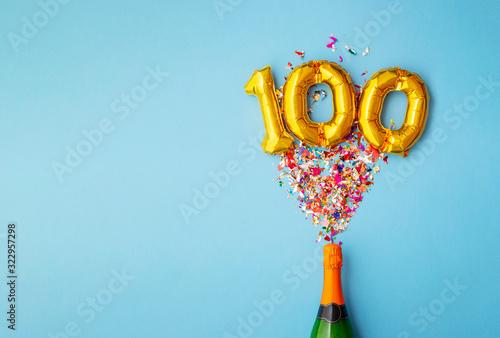 Cuadros en Lienzo 100th anniversary champagne bottle balloon pop