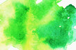 canvas print picture - Abstract green hand drawn watercolor stain background