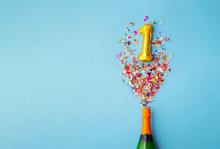 1st Anniversary Champagne Bottle Balloon Pop