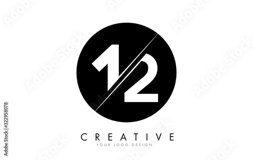 Fototapeta 12 1 2 Number Logo Design with a Creative Cut and Black Circle Background. obraz