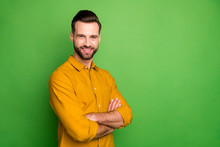 Profile Photo Of Good Mood Young Business Man Crossed Arms Meeting Colleagues Corporate Seminar Formalwear Yellow Shirt Isolated Bright Green Color Background