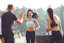 Girl Runner Runs Fun With A Gr...