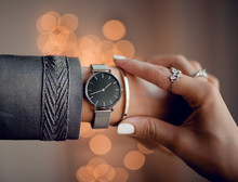 Stylish Silver Watch On Woman Hand