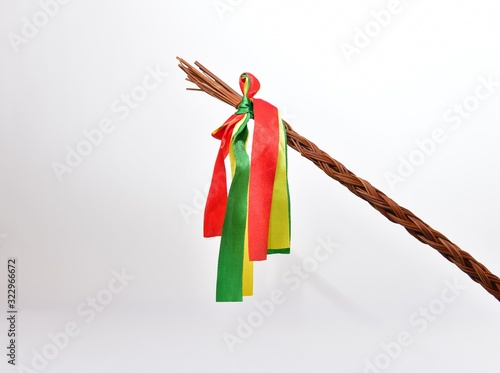 Traditional Czech Easter whip with colorful ribbons from willow branches Canvas Print