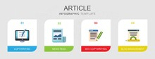 4 Article Flat Icons Set Isola...