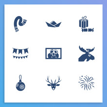 New Year Icon Set And Firework...
