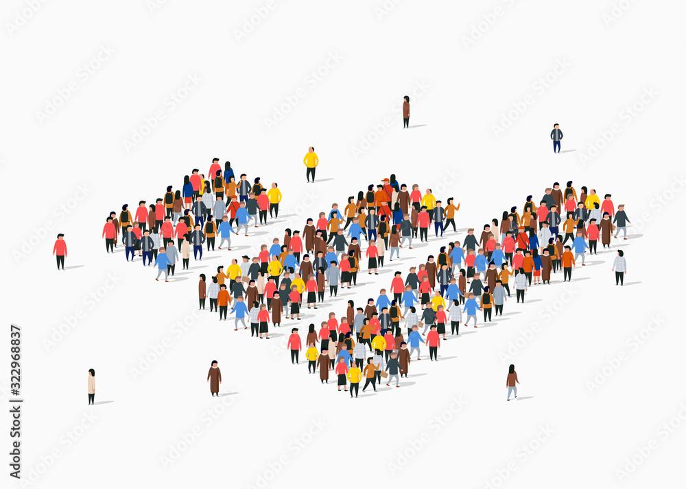 Obraz People crowd in form of growing chart. Statistic concept. fototapeta, plakat